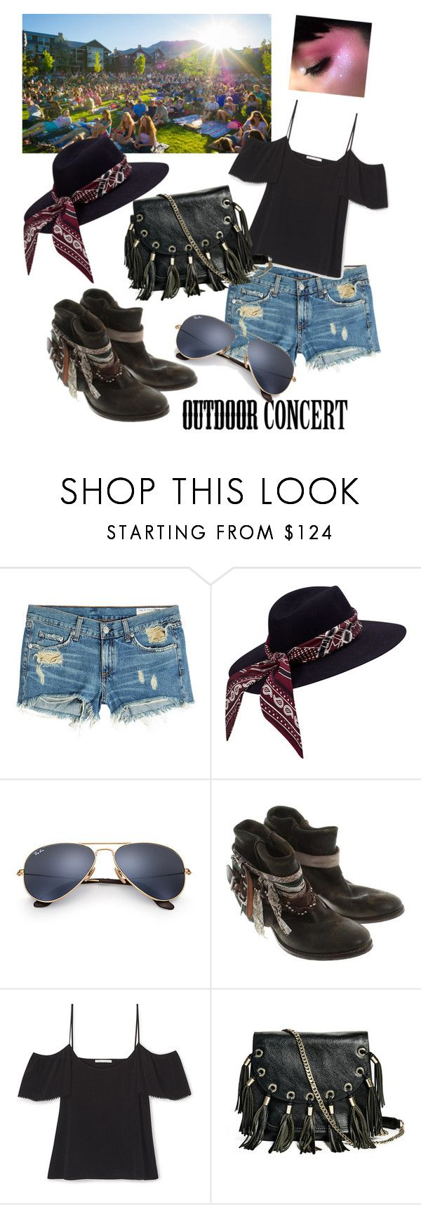 """Outdoor concert"" by tattooedmum on Polyvore featuring rag & bone, Ray-Ban, Russell & Bromley, GUESS by Marciano, 60secondstyle and outdoorconcerts"