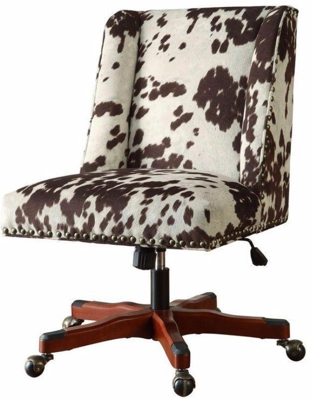 Dark Brown Cow Print Fabric Desk Chair Stylish Home Office Furniture New #chair
