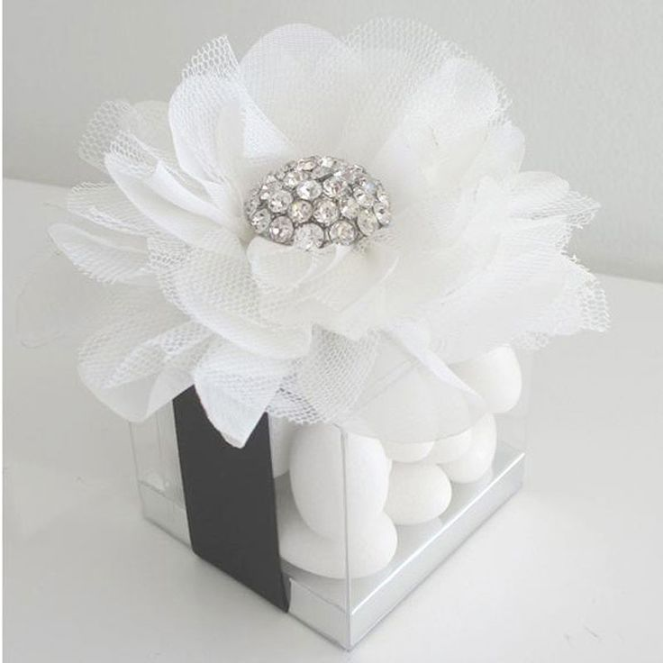 Tulle flower with bling wedding candy box favor