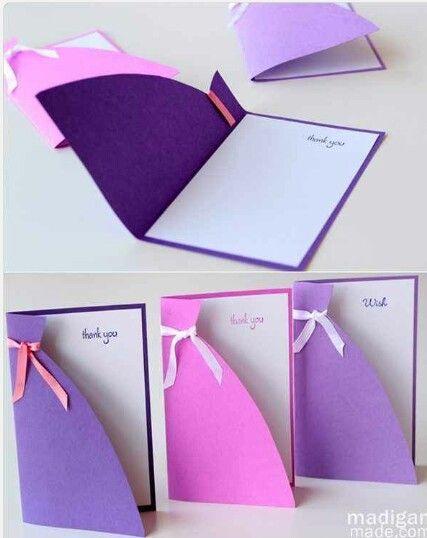 Simple dress shape purple pink fuchsia cards