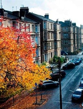 The autumn leaves brighten up the sandstone tenements in Glasgow's West End