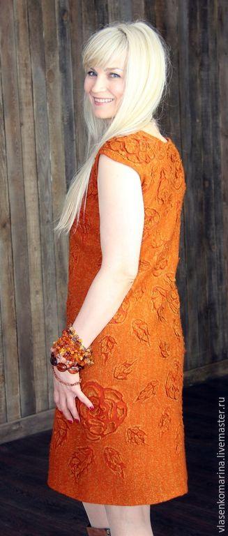 Платья ручной работы. Ярмарка Мастеров - ручная работа. Купить Платье валяное Осенний блюз. Handmade. Рыжий, авторское платье