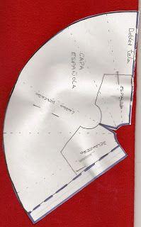 Posición del patrón para cortar una capa española