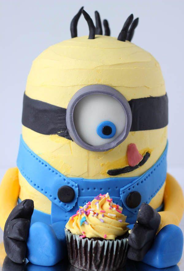 How to Make a Minion Cake - step by step tutorial ~ http://blahnikbaker.com