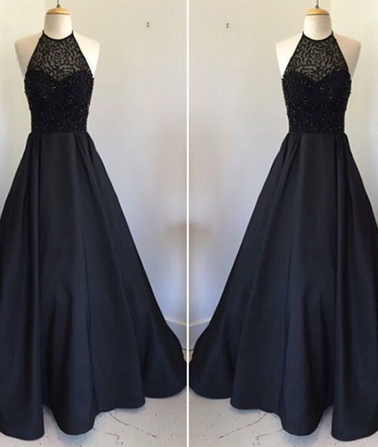 prom dresses,New Arrival black round neck satin long prom dress, black evening dress