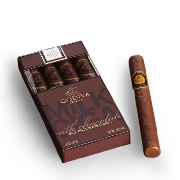 Milk Chocolate Cigars - Our elegant Milk Chocolate Cigars quartet is made from the finest, solid GODIVA milk chocolate. Designed to be enjoyed by mature connoisseurs, and packed in a distinctive gift box. Perfect for celebrations. 4 pcs. (5 oz.)