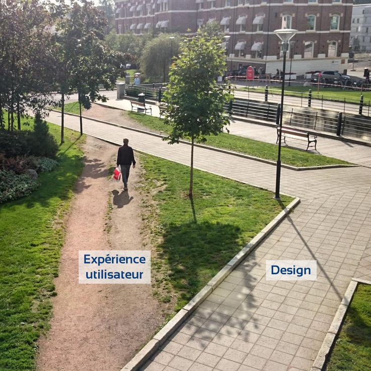 On peut qualifier le chemin de droite de design de produit et le chemin de gauche d'expérience utilisateur. Vous voyez qu'un mauvais design peut avoir un impact sur l'expérience de l'utilsiateur.