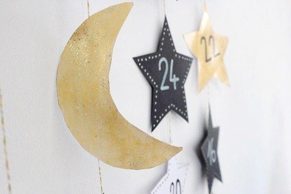 Calendrier de l'Avent Maman Nougatine : étoiles noires et dorée, lune #calendrier #avent #calendrieravent #mamannougatine #diy #faitmaison #lune #moon #etoile