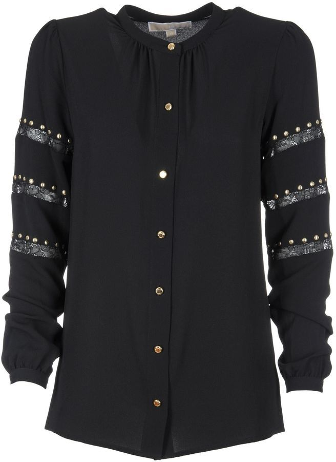 Michael Kors Lace Stripe Stud Shirt
