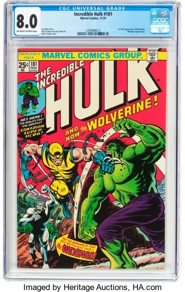 First full appearance of Wolverine. Wendigo appearance. Herb Trimpe cover and art. Currently #3 on Overstreet's list of Top 10 Bronze Age Comics.The Incredible Hulk #181 (Marvel, 1974) CGC VF 8.0 Off-white towhite pages....