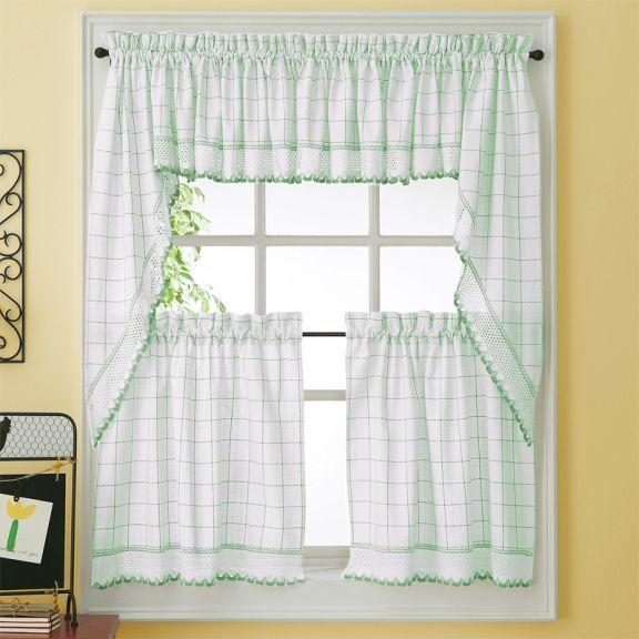 Green Adirondack Woven Kitchen Tier Curtains Green Kitchen Curtains Kitchen Curtains Tier Curtains