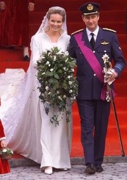 Royalty Fashions-Wedding of Crown Prince Philippe and Crown Princess Mathilde of Belgium 1999