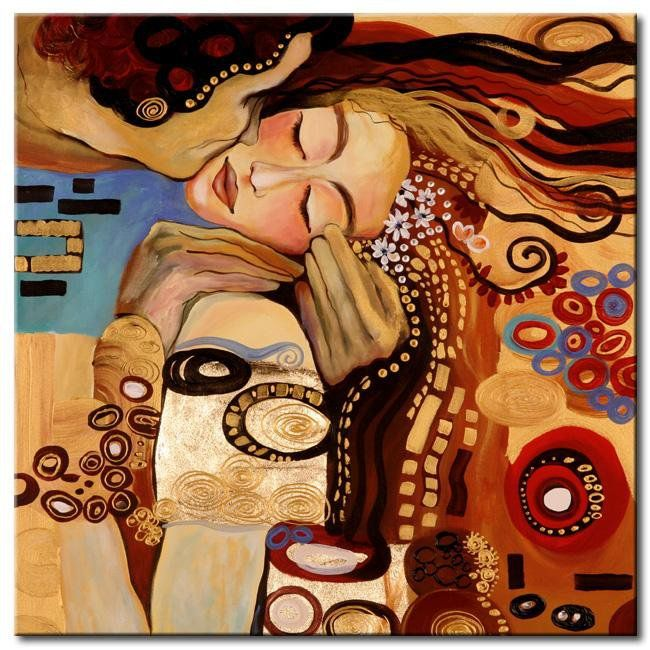 Klimt - such a passionate kiss, the way her head is bent over and she is taking it all in.
