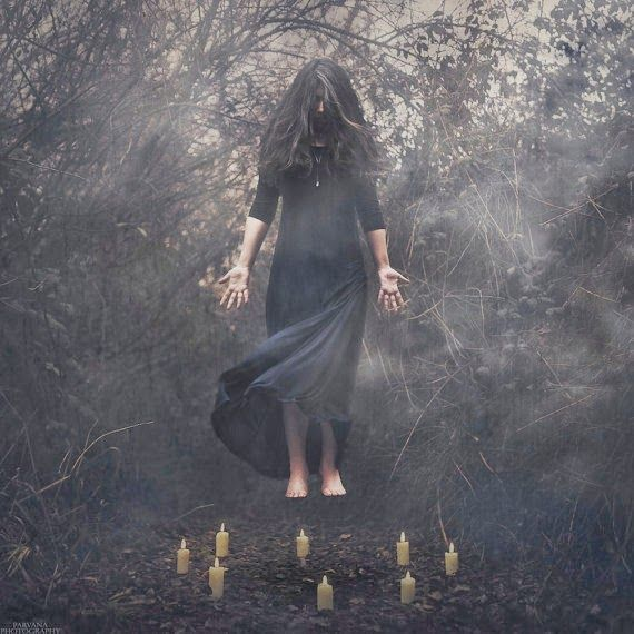 Girl floating up in the air shows that she is about to enter a dream realm.