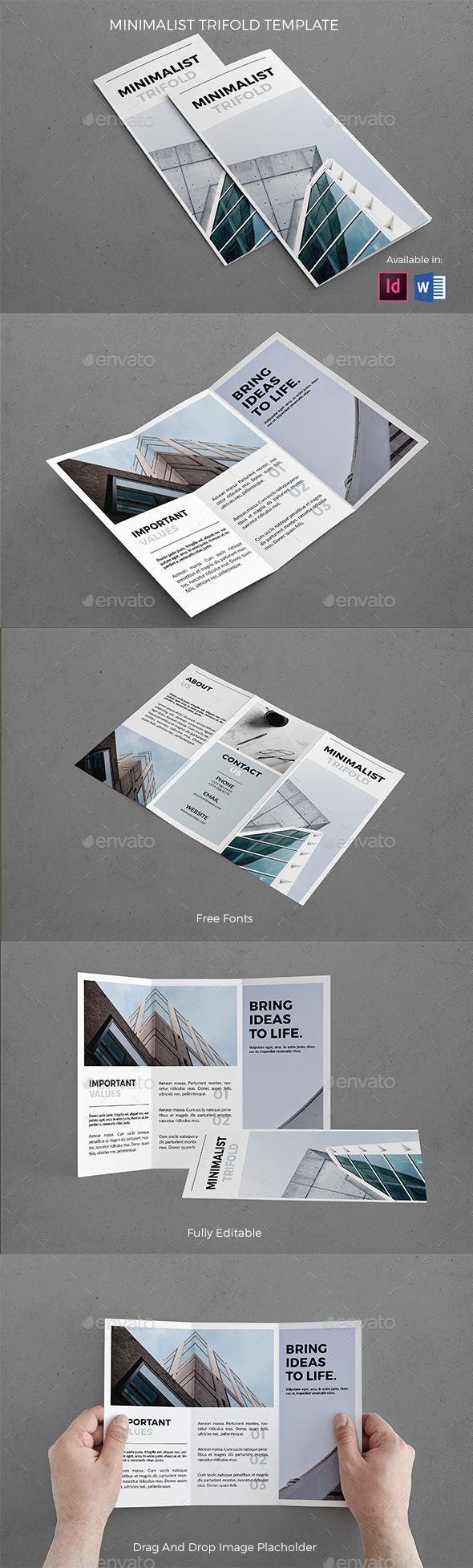 Minimalist Trifold Template — InDesign INDD #atsar #corporate • Download ➝ https://graphicriver.net/item/minimalist-trifold-template/19537979?ref=pxcr