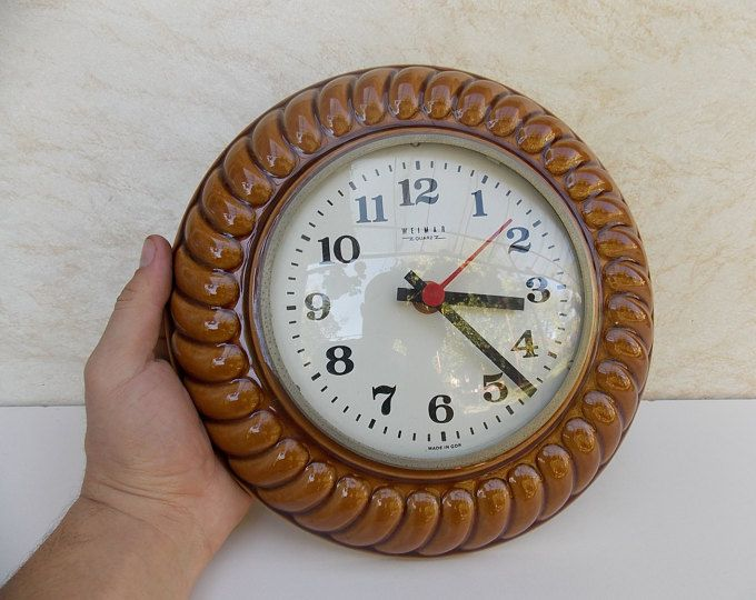 Retro brown wall clock, ceramic clock, vintage clock, Weimar Quarz, Germany clock, Art Mid Century 70s, kitchen decor, wall decor