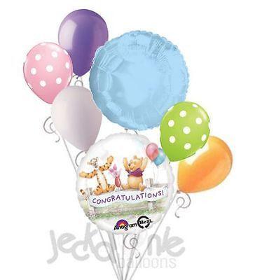 7 pc Disney Winnie Pooh Congratulations Balloon Bouquet Party Decoration Piglet