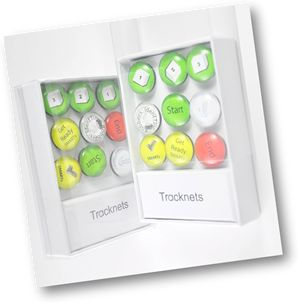 Tracknets are time markers that are placed on an analog clock to improve time awareness.