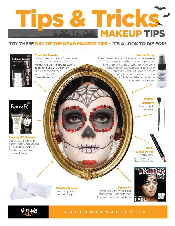 heres a printable makeup tutorial for the perfect day of the dead look that you can - Best Halloween Makeup To Use