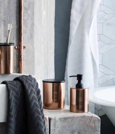 Product Detail | H&M GB Bathroom: black, white, greyish blue, cream and copper. hint of green