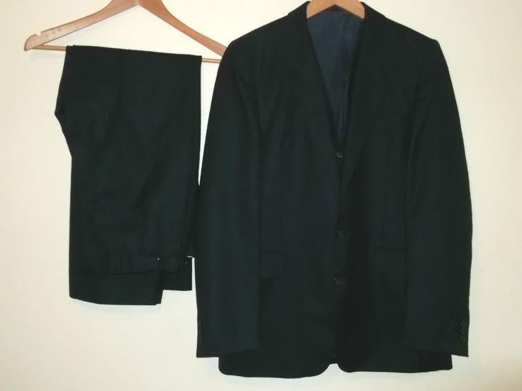 Dino Valente Mens 3 Piece Suit Pure New Wool Blazer Waistcoat Pants Size 40R