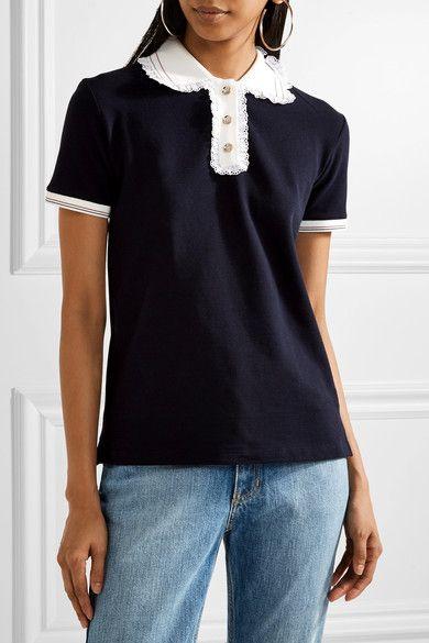 Miu Miu - Lace-trimmed Cotton-piqué Polo Shirt - Midnight blue -