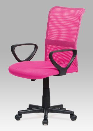 KA-N844 Kancelářská židle, mesh růžová, výškově nastavitelná. Nosnost 90 kg.