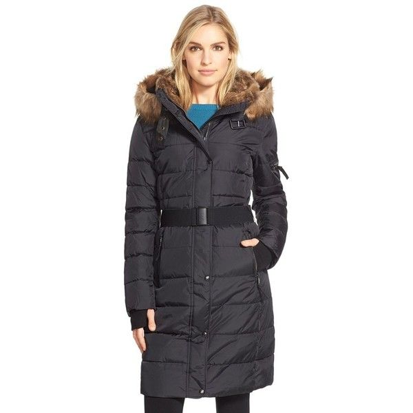 S13/NYC 'Lexington' FauxFur TrimBelted HoodedLong Quilted Coat ($180) ❤ liked on Polyvore featuring outerwear, coats, black, black puffer coat, long hooded coat, long black coat, hooded coats and long coat