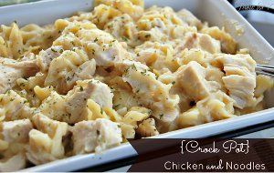 5 Ingredient Chicken and Noodles is one of those chicken and pasta recipes that's perfect if you're looking for a one-pot meal. This slow cooker chicken breast recipe is simple to prepare, and you don't even need to boil the noodles separately--you can throw them into your crock uncooked.