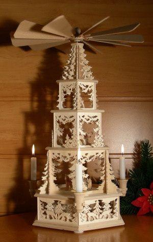 """Weihnachtspyramide original aus dem Erzgebirge """"Waldmotiv"""" SE - (Modell: Rehlein) mit 3-D-Effekten (mit echten Kerzen-Haltern; 176€)"""