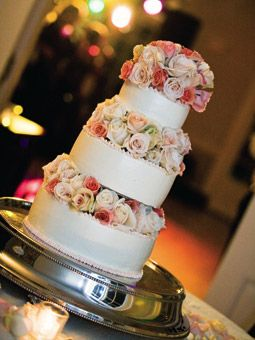 Round Wedding Cake with Pink Rose Tiers