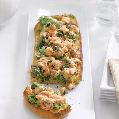 Giada De Laurentiis' Recipe: Toasted Ciabatta with Shrimp, Tarragon, and Arugula-YUM!