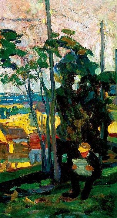 Egry József Olvasó férfi a szabadban című festménye