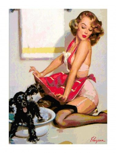 Vintage Retro Pin-Up Girl & Dog Bath Kitschy Cross-Stitch Pattern