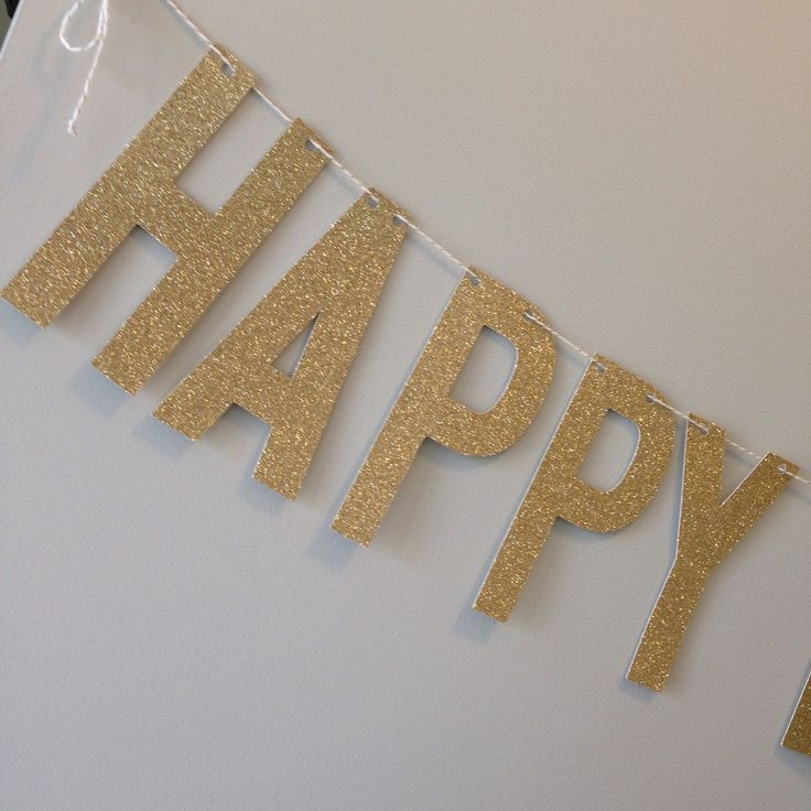 Gold Glitter Happy Birthday Banner ~ Birthday Banner ~ Party ~ 1st Birthday ~ 21st Birthday ~ 30th Birthday ~ 40th Birthday ~ 50th Birthday by APartyInABag on Etsy