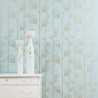Ribbed wallpaper - turquoise/gold from Fern Living.  So beautiful!