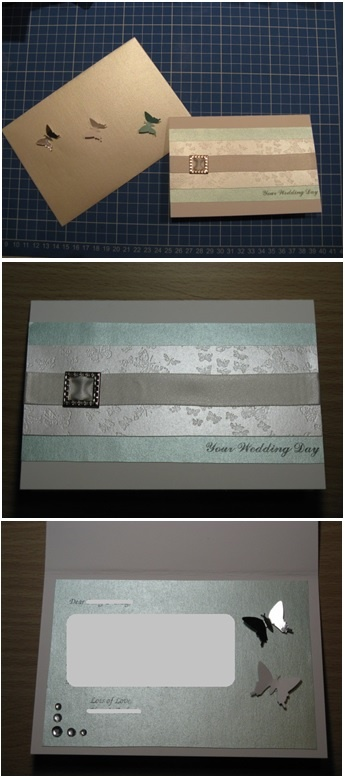 Blue & white butterfly handmade wedding card - Han-crafted (c)