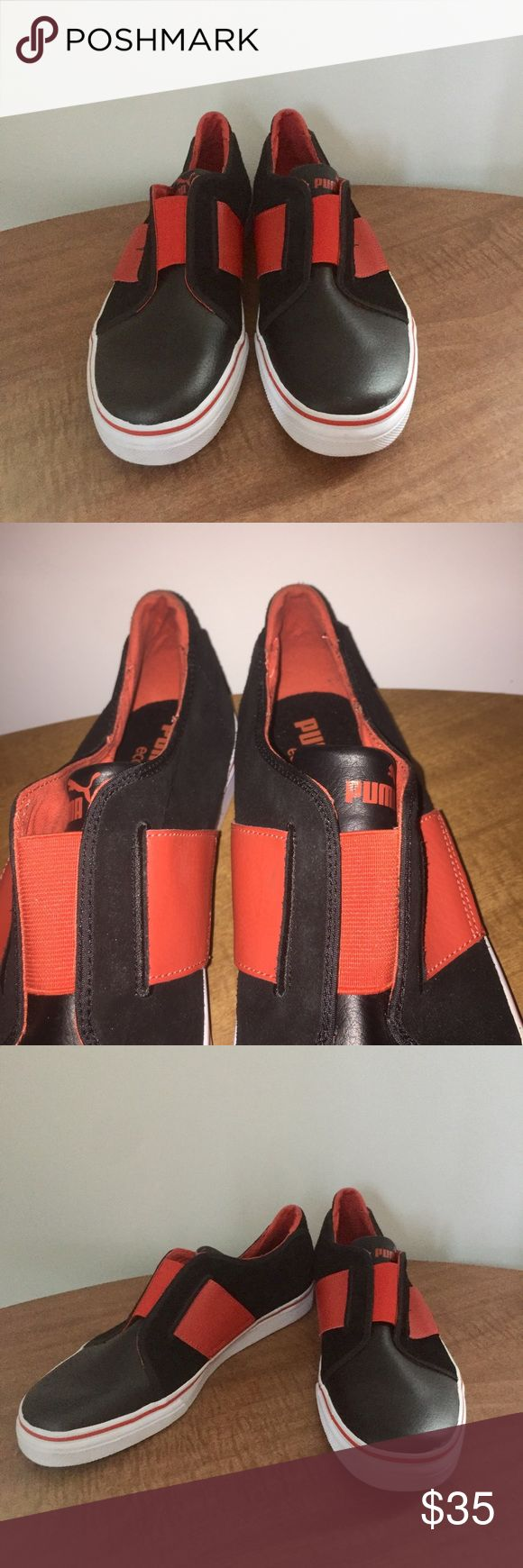 Puma Black And Ref Slip-Ons Very stylish and comfortable Slip-Ons by Puma. Brand new in black and red. These have shiny leather and suede with a red Elastic band across the top. Puma Shoes Sneakers