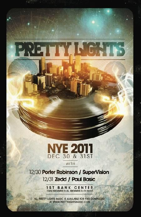 Concert poster for Pretty Lights at The First Bank Center in Broomfield, CO for New Years in 2011.  11 x 17 inches.