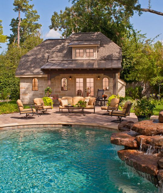 french country homes rock wall pool ideas flag diving waterfalls houston outdoor living pools