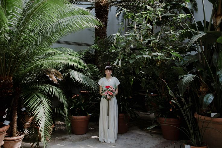 Italian bride, wedding dress by Alessia Baldi | Greenhouse wedding inspiration in Florence, Italy