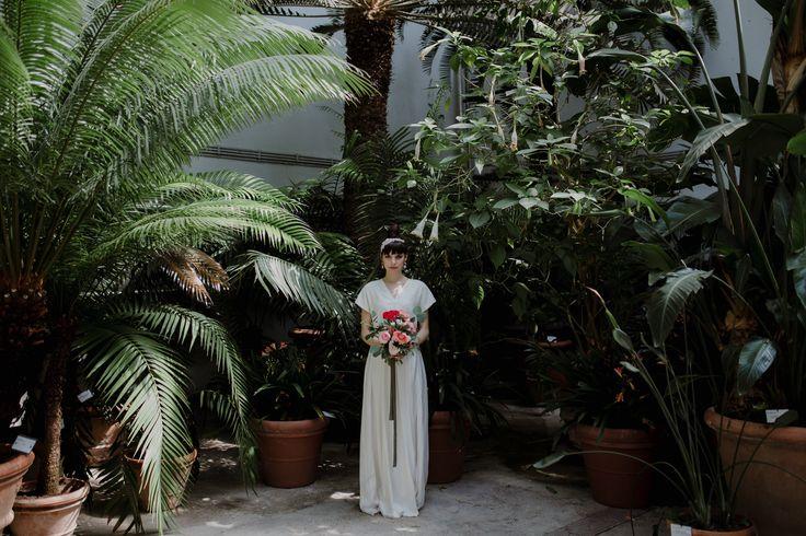 Italian bride, wedding dress by Alessia Baldi | Greenhouse wedding inspiration in Florence, Italy