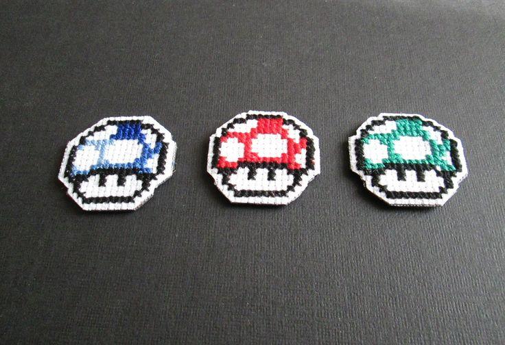 Mario Mushroom Cross Stitch Magnets- Set of 3.  www.etsy.com/shop/lizkingcraft