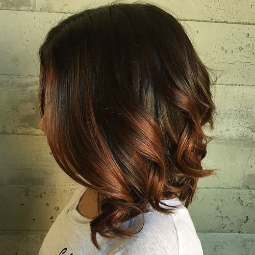 long dark brown bob with copper ombre highlights by gloriaU