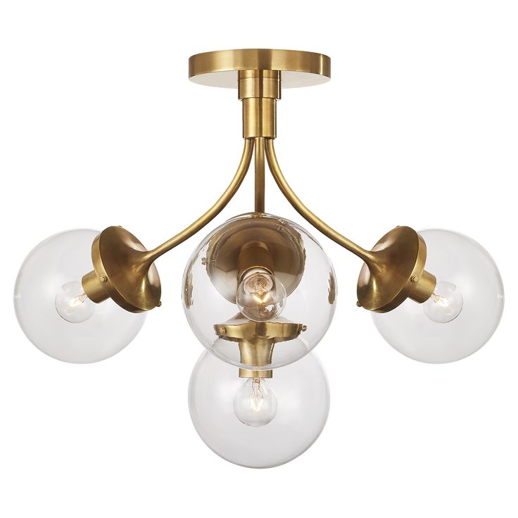 Soft Brass with Clear Marbled Glass
