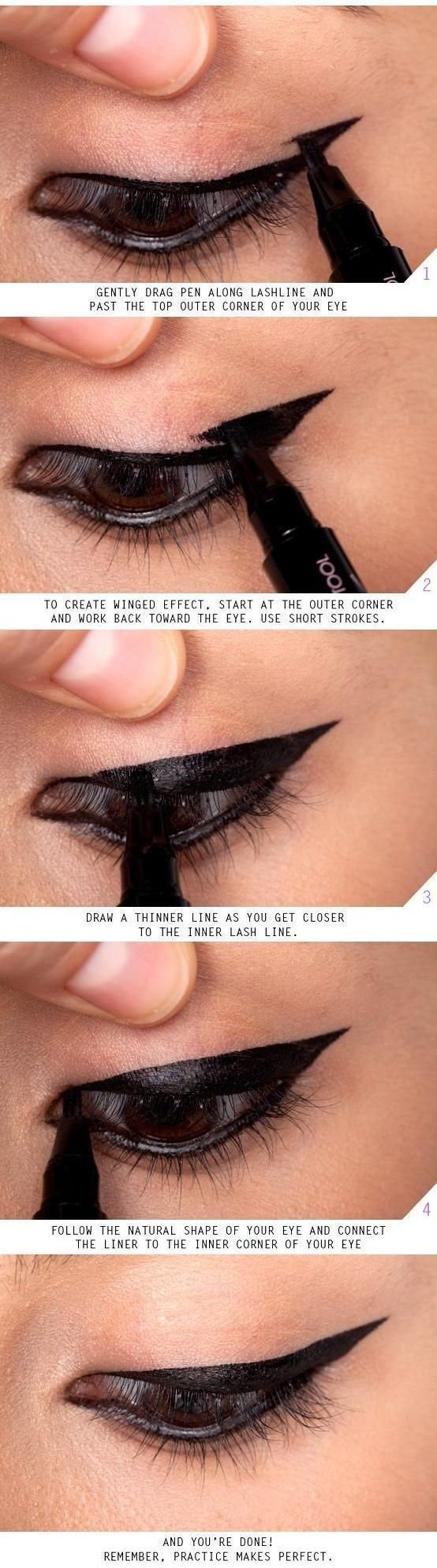 Makeup Tips and Tutorials! Vintage Triple Winged Eyeliner by DIY Ready at http://makeuptutorials.com/makeup-tutorials-17-great-eyeliner-hacks/