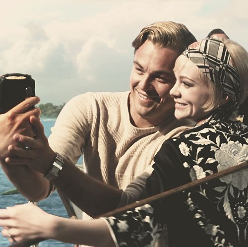 Mr. Gatsby and Daisy Buchanan casually taking selfies.