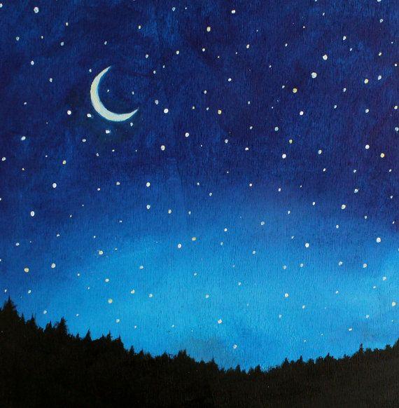 Night Sky Painting Kids Wall Art Nursery Decor by SunlitCo