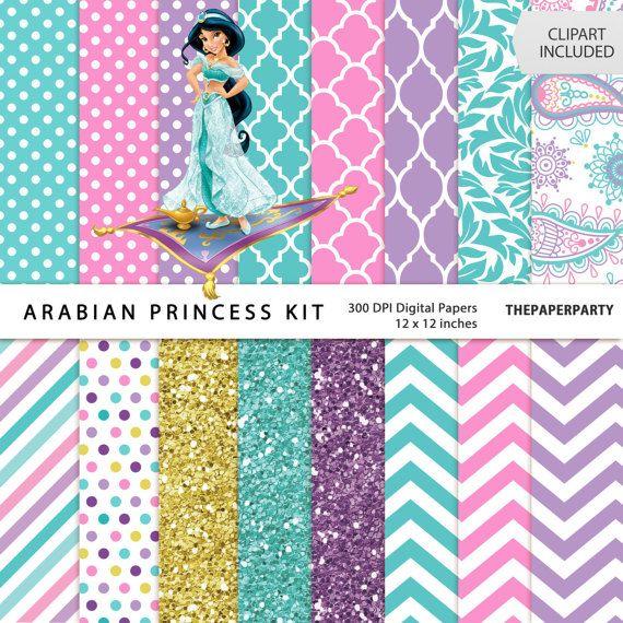 Jazmín la princesa 16 documentos digitales kit por ThePaperyParty