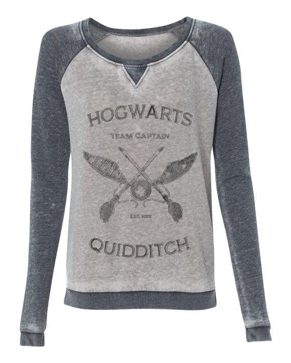 Harry Potter Hogwarts Quidditch Team Captain super soft burnout style womens pullover sweatshirt ladies girls